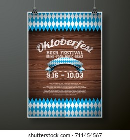 Oktoberfest poster vector illustration with flag on wood texture background. Celebration flyer template for traditional German beer festival.