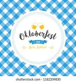 Oktoberfest poster vector illustration with fresh lager beer on blue white flag background. Celebration flyer template for traditional German beer festival. Beer and flag