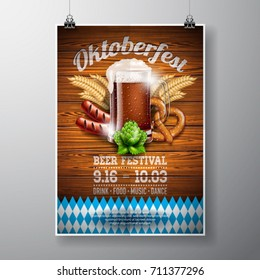 Oktoberfest poster vector illustration with fresh dark beer on wood texture background. Celebration flyer template for traditional German beer festival.