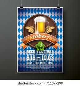 Oktoberfest poster vector illustration with fresh lager beer on blue white flag background. Celebration flyer template for traditional German beer festival.