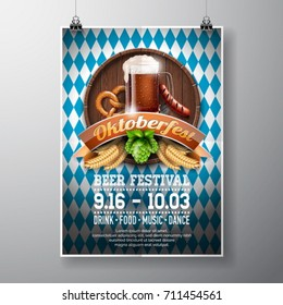 Oktoberfest poster vector illustration with fresh dark beer on blue white flag background. Celebration flyer template for traditional German beer festival.