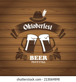 Oktoberfest poster with wooden planks texture on background