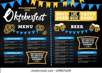 Oktoberfest pub menu template in a modern style with hand drawn Oktoberfest chalk inscription, buntings garlands, beer mugs and pretzels on a blackboard background. Vector illustration