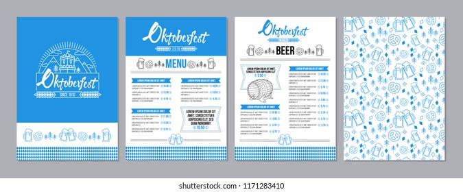 Oktoberfest pub menu template set in a modern minimalist style with festival logo, barrel of beer, beer mugs, pretzels and tradition seamless pattern. Vector illustration