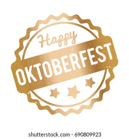 Oktoberfest rubber stamp gold on a white background.