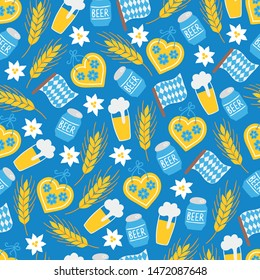 Oktoberfest seamless pattern with gingerbread, beer, bottle, bavarian flag, edelweiss, wheat on blue background. Perfect for restaurant menu, beer festival, greeting cards, wallpaper