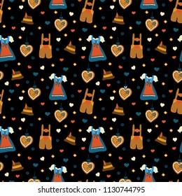 Oktoberfest seamless vector pattern. Lederhosen and Dirndl dress, Lebkuchenherz, flowers, hearts, Oktoberfest hat. Black background. Bavarian Oktoberfest costumes.