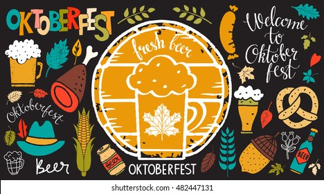 Oktoberfest set. Food and drink, ribbon, hat. Welcome Oktoberfest, Beer, Oktoberfest handwritten text. Isolated on balck background