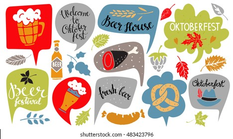 Oktoberfest set. Food and drink, speech bubbles, leaves, hat. Welcome Oktoberfest, Beer Festival, Fresh Beer, Beer House handwritten text. Isolated on white background