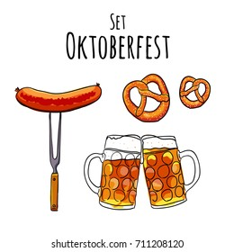 Oktoberfest set. Hand drawn Vector illustration of oktoberfest attributes. Pub menu.