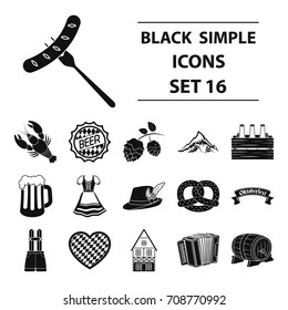 Oktoberfest set icons in black style. Big collection Oktoberfest vector symbol stock illustration