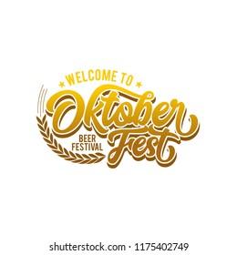 Oktoberfest simple vector lettering, welcome to oktoberfest, oktober, welcome oktober typography, Oktoberfest logotype. Beer Festival vector banner