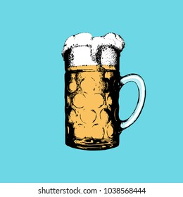 Oktoberfest symbol on turquoise background. Hand drawn illustration of glass mug for poster, label or badge. Vector beer festival sign.