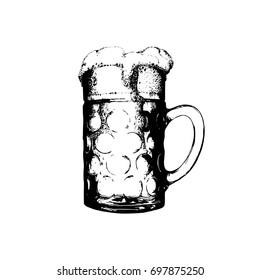 Oktoberfest symbol. Vintage hand sketched glass mug for brewery poster, label or badge. Vector beer festival sign.