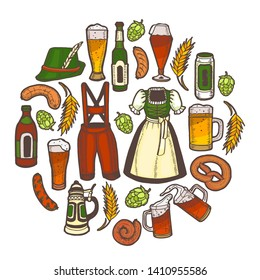 Oktoberfest Template. Festival Collection in in Hand Drawn Style for for Surface Design Fliers Banners Prints Posters Cards Menu Ads. Vector Illustration
