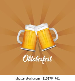 Oktoberfest template, poster and flyer design illustration with foamy beer glass. vector illustration of Beer Festival Oktoberfest in Germany.