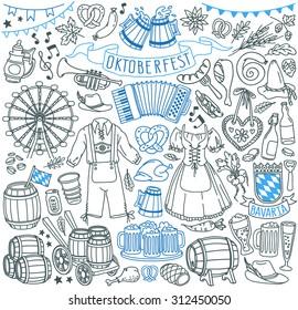 Oktoberfest themed doodle set. Traditional symbols: bavarian costumes - drindl and lederhosen, gingerbread heart, baked bread - pretzel, bratwurst sausage, barrels of beer. Freehand vector drawing.