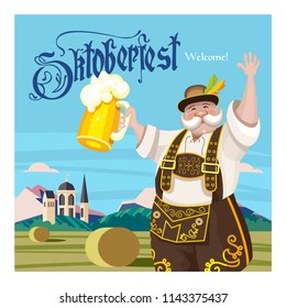 Oktoberfest. Traditional annual beer festival in Germany. A cheerful German man in a national costume stands against the background of the Bavarian landscape with a mug of beer in his hand.