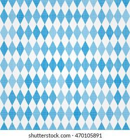 Oktoberfest traditional Bavarian linen flag background. Vector Blue seamless Bavarian pattern