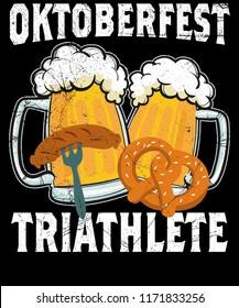 Oktoberfest Triathlete Food Beer Pretzel Shirt Vector Graphic Design