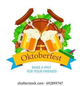 Oktoberfest vector background design. Octoberfest holiday banner layout. Lederhosen greeting letter or postcard element with traditional bavarian symbols. Party or event headline template with text.