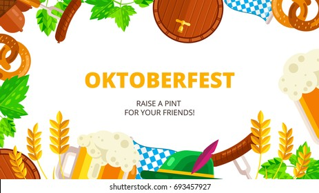 Oktoberfest vector background design. Octoberfest holiday banner layout. Greeting letter or postcard element with traditional bavarian pattern symbols. Party or event headline template with text.