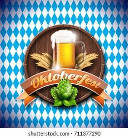 Oktoberfest vector illustration with fresh lager beer on blue white background. Celebration banner for traditional German beer festival.