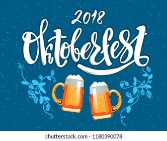 Oktoberfest - vector illustration with handwritten lettering. Oktoberfest typography vector design for greeting cards and poster. Beer Festival vector banner. Design template celebration.