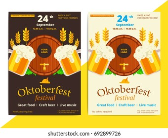 Oktoberfest vector poster background design. Octoberfest holiday banner layout. Party or event flyer with pattern and traditional bavarian symbols. Promo or promotional ad material.