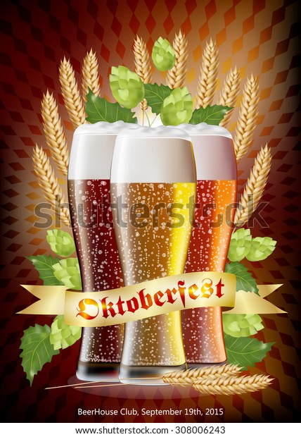 Oktoberfest Vector Poster Background with Glasses of Bear, Ears of Wheat , Hops and Traditional Munich Background. EPS 10