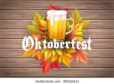 Oktoberfest vector wooden autumn background with leaves beer text with shadow