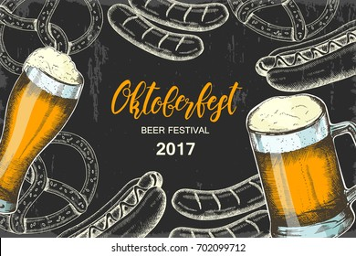 Oktoberfest vintage poster. Beer festival design. Vector Hand drawn beer glass with sausage, hot dog and pretzel on black. Hand made lettering. Sketch. Banner, flyer, brochure, web. Advertising.