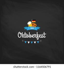 Oktoberfest vintage poster or greeting card on a chalkboard background. Beer festival lettering typography set celebration retro typographic design templates labels, badges and logos