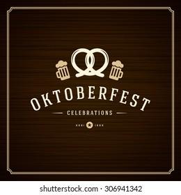 Oktoberfest vintage poster or greeting card and wooden background. Beer festival celebration. Vector illustration.