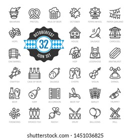 Oktoberfest, the world's largest beer festival, Bavaria - thin line web icon set.  Outline icons collection. World Travel tourism. Simple vector illustration.