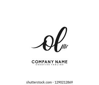 OL Initial Handwriting Logo Template Vector