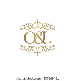 O&L Initial logo. Ornament ampersand monogram golden logo