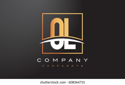 OL O L Golden Letter Logo Design with Swoosh and Rectangle Square Box Vector Design.