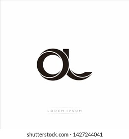 ol o l Initial Letter Split Lowercase Modern Monogram linked outline rounded logo