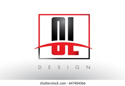 OL O L Logo Letters with Red and Black Colors and Swoosh. Creative Letter Design Vector.