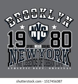 Olahraga atletik Tipografi Brooklyn, grafis kaos, vektor