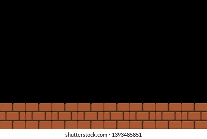Old 8 bit Classic Brick Floor on Black Background.
