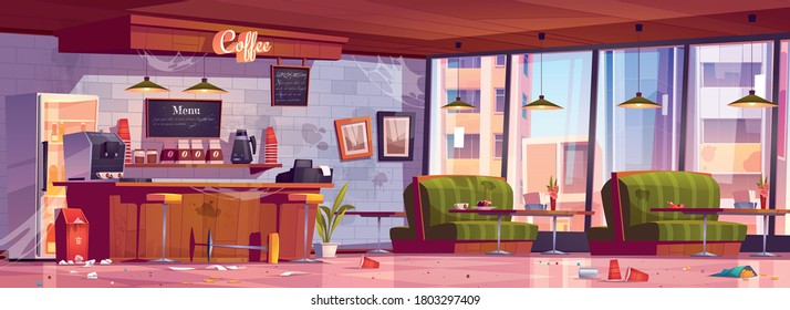 Old abandoned coffee shop with wooden counter, stools, dirty sofas and tables. Vector cartoon interior of empty cafe with broken furniture, mess and trash on floor