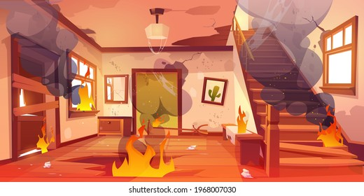 Old abandoned house on fire. Flame and black smoke clouds inside home. Vector cartoon interior of burning home hallway with dirty walls, boarded up door, garbage, broken wooden staircase and floor