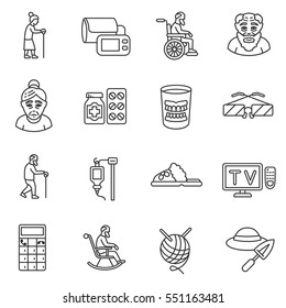 Old age icons set. Old man, thin line design. Grandparents, linear symbols collection. isolated vector illustration