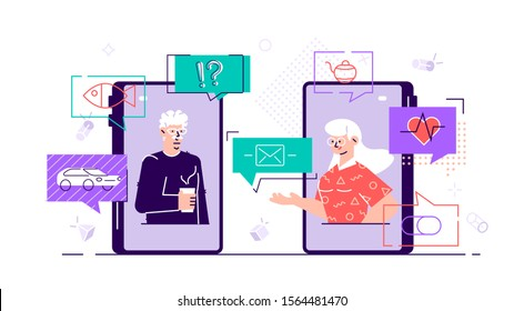 Old aged family couple man & woman communication using smart phone video call. Elderly people talking, chatting, messaging, gossiping on social network topics. Flat style vector character illustration