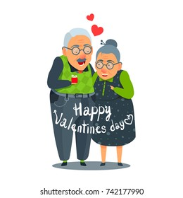 Old, aged man and woman funny couple in love. Card design Valentine's Day. Flat cartoon style illustration. Give presents, share gifts. Handwritten inscription Happy Valentines Day. Vector isolated.