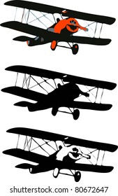 Old airplane. simple vector biplane