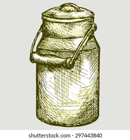 Old aluminium milk can. Vector Image