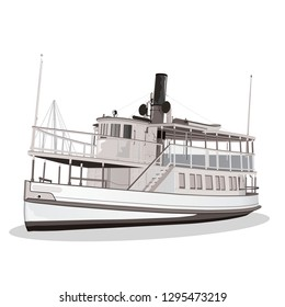 Old American Ferry isolated. Vector, illustration. - Vector,